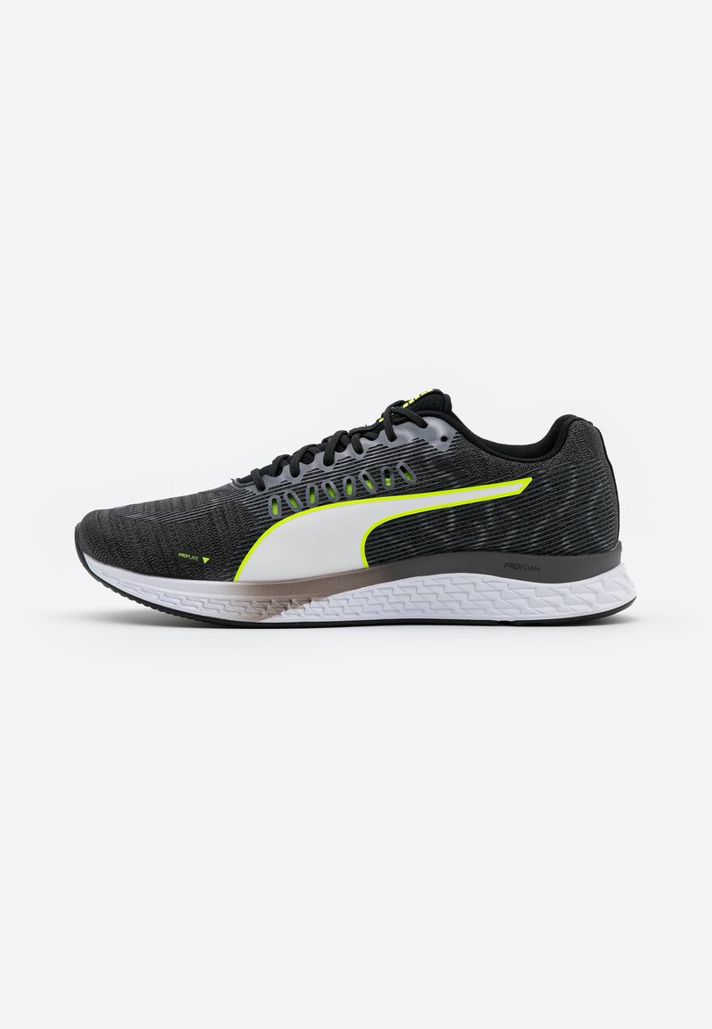 Puma - SPEED SUTAMINA - Neutral running shoes - black/castlerock/yellow alert/white