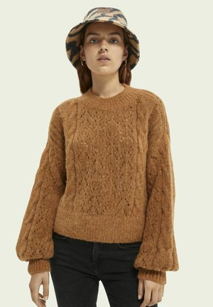 CABLE-KNITTED RELAXED-FIT - Jumper - copper melange