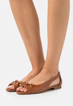 LEATHER - Peeptoe ballet pumps - cognac