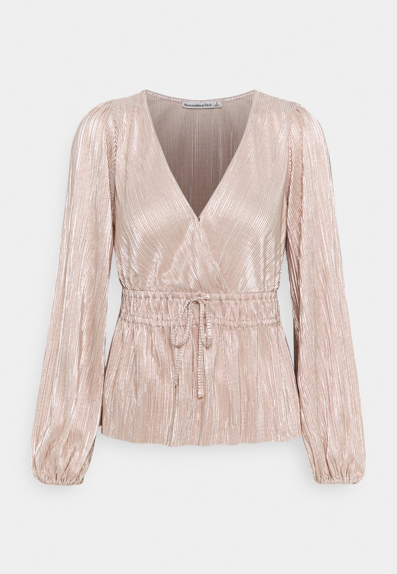 Abercrombie & Fitch - WRAP BLOUSE - Long sleeved top - rose gold