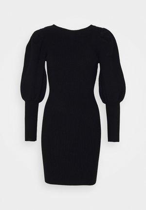 PUFF SLEEVE DRESS WITH LOW BACK - Stickad klänning - black