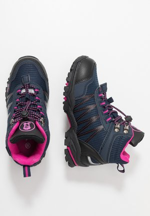 KIDS TROLLTUNGA MID UNISEX - Hiking shoes - navy/magenta
