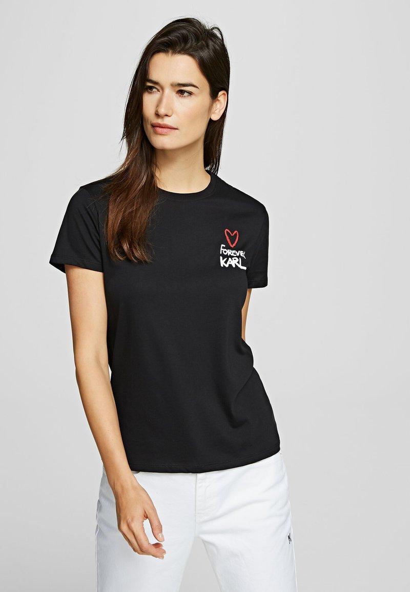 KARL LAGERFELD - FOREVER KARL - Print T-shirt - black