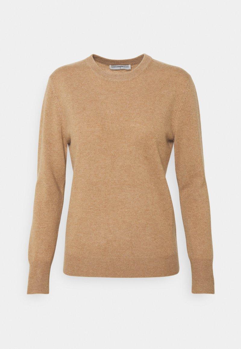 pure cashmere - CLASSIC CREW NECK  - Strikkegenser - dark beige