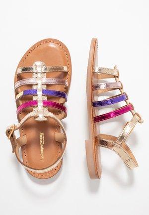 MONGUE - Sandaalit nilkkaremmillä - gold/multicolor