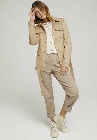 TOM TAILOR DENIM - RIDERS  - Denim jacket - light beige - 1