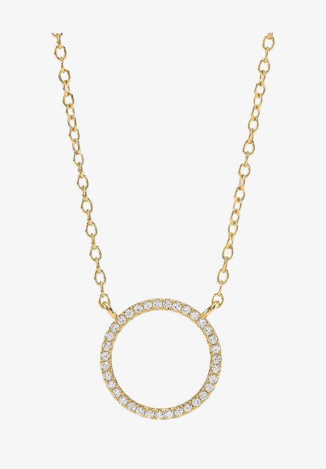 ANNANOR KETTE MIT KREIS-ANHÄNGER UND ZIRKONIA - Halsband - gold