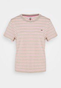 Tommy Jeans - ESSENTIAL STRIPE TEE - Print T-shirt - soft beige/multi - 4