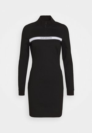MILANO MOCK NECK ZIP LOGO DRESS - Kotelomekko - black
