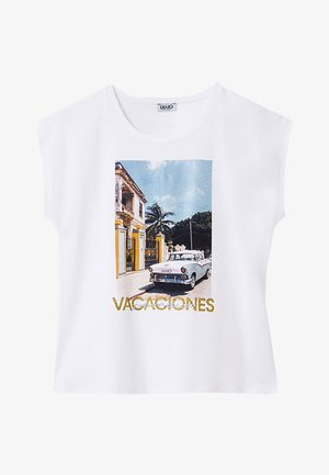WITH PRINT AND APPLIQUÉS - T-shirt print - white
