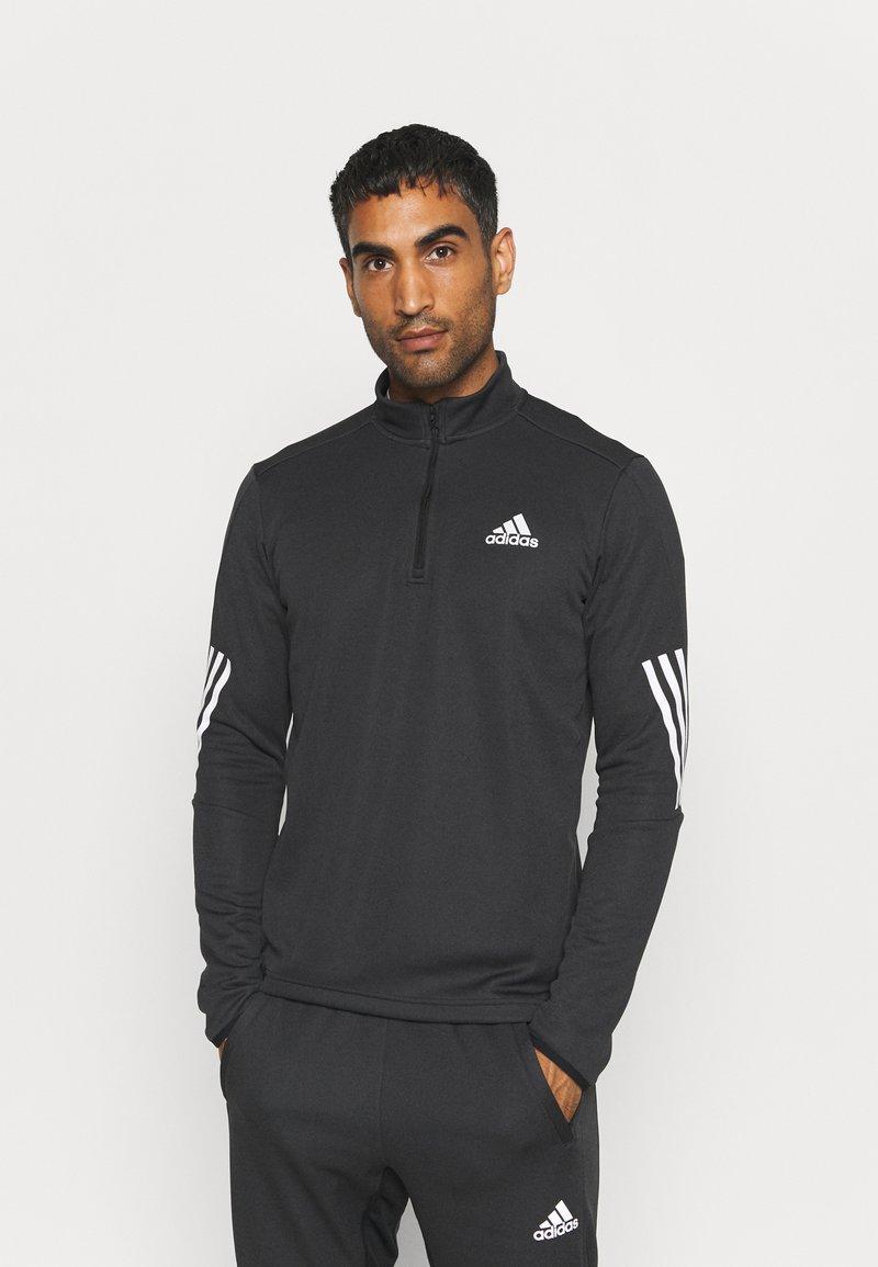 adidas Performance - 1/4 ZIP TRAINING WORKOUT AEROREADY PRIMEGREEN - Long sleeved top - black