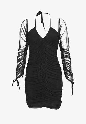 BARDOT TIE FRONT RUCHED MINI DRESS - Day dress - black