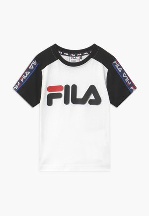 LUIGI TAPED LOGO TEE - T-shirt z nadrukiem - bright white/black