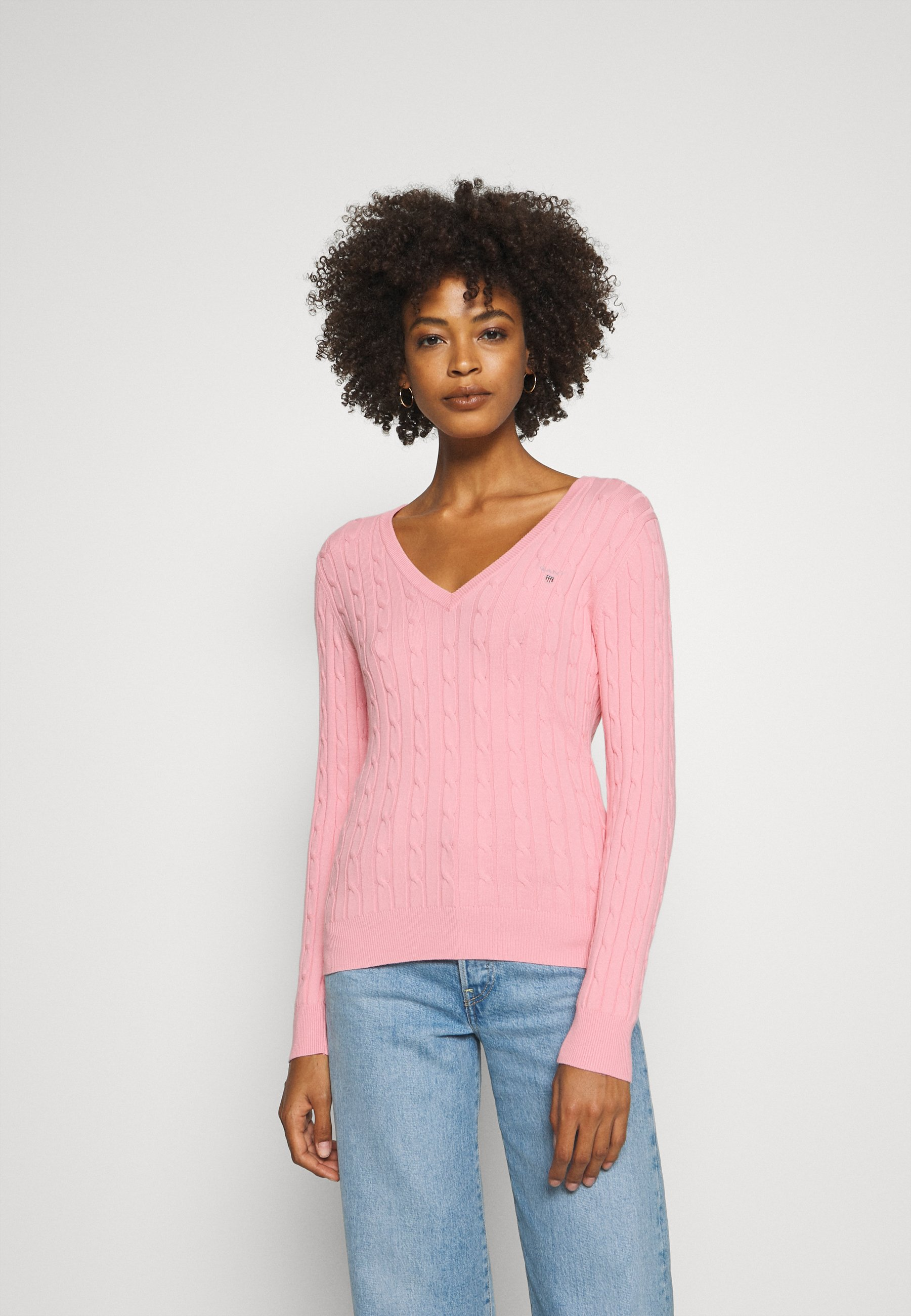 Femme STRETCH CABLE V NECK - Pullover
