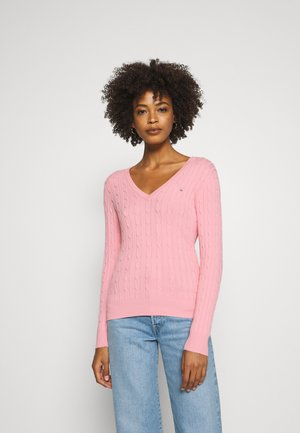 STRETCH CABLE V NECK - Jumper - preppy pink