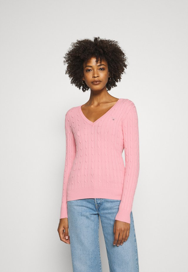STRETCH CABLE V NECK - Jersey de punto - preppy pink