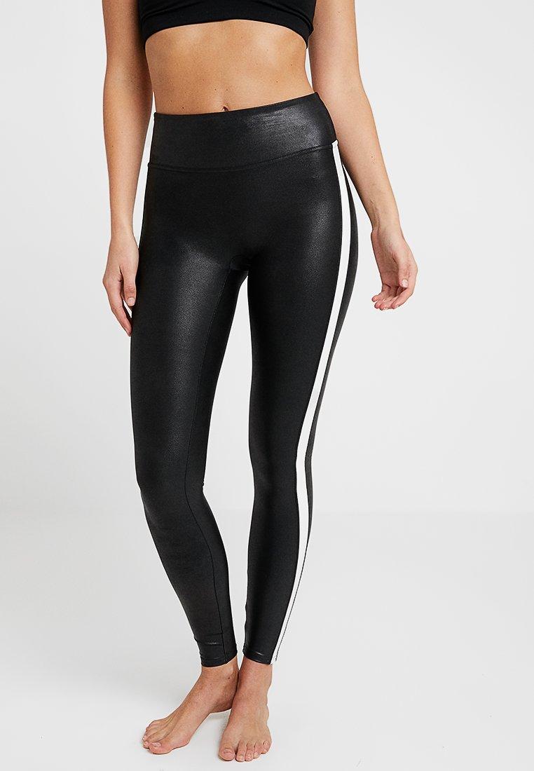 Spanx - SIDE STRIPE LEG - Leggings - Stockings - very black/white