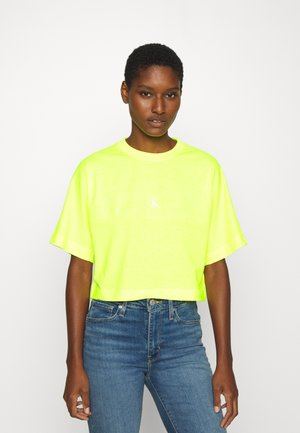 PUFF PRINT BACK LOGO - Print T-shirt - safety yellow