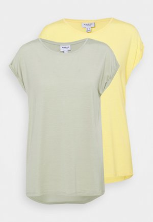 VMAVA PLAIN 2 PACK - T-shirts - desert sage/cornsilk