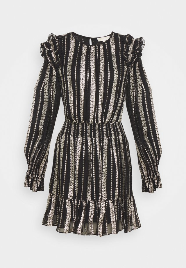 STRIPE DRESS - Cocktailjurk - black/silver
