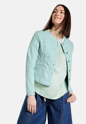 MIT FRANSENKANTE - Denim jacket - aqua grey