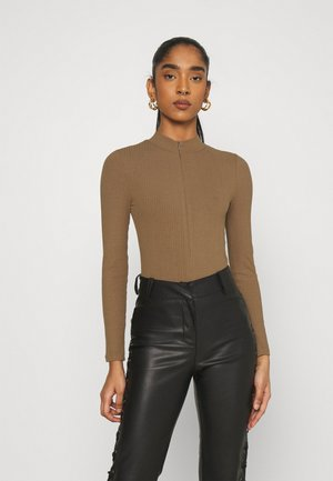 ZIP FUNNEL BODY - Long sleeved top - brown