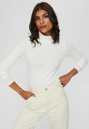 GERIPPTES MIT ROLLKRAGEN - Long sleeved top - off white