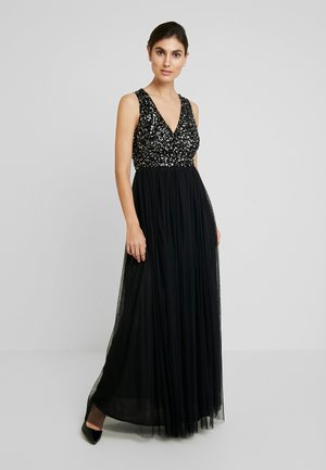 SLEEVELESS WRAP FRONT MAXI DRESS - Vestido de fiesta - black