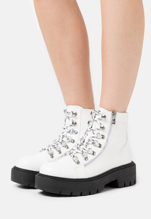 Lace-up ankle boots - white mix