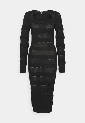 CUT OUT NECK MIDI DRESS - Sukienka dzianinowa - black