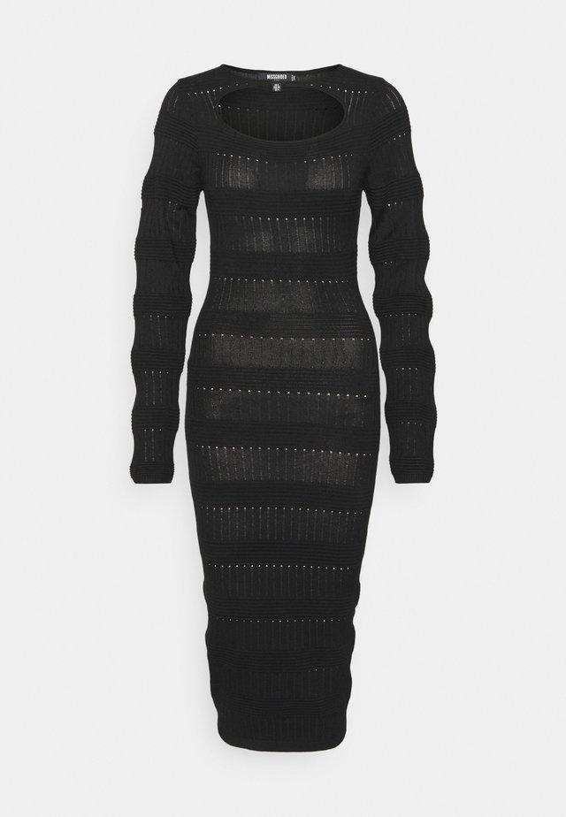 CUT OUT NECK MIDI DRESS - Stickad klänning - black