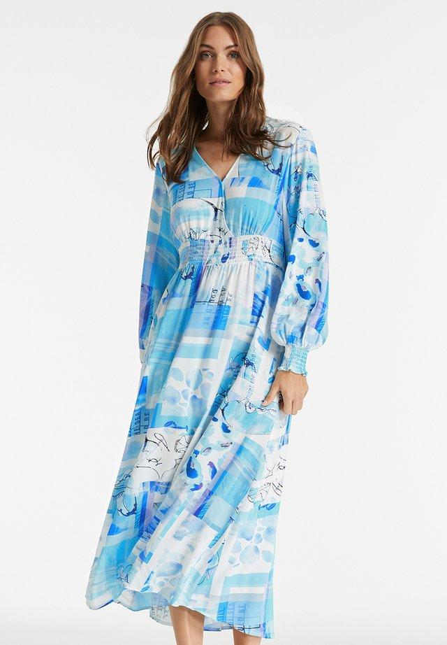 Day dress - blue curacao gemustert
