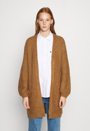 CABLE PUFF SLEEVE CARDI - Cardigan - medium brown