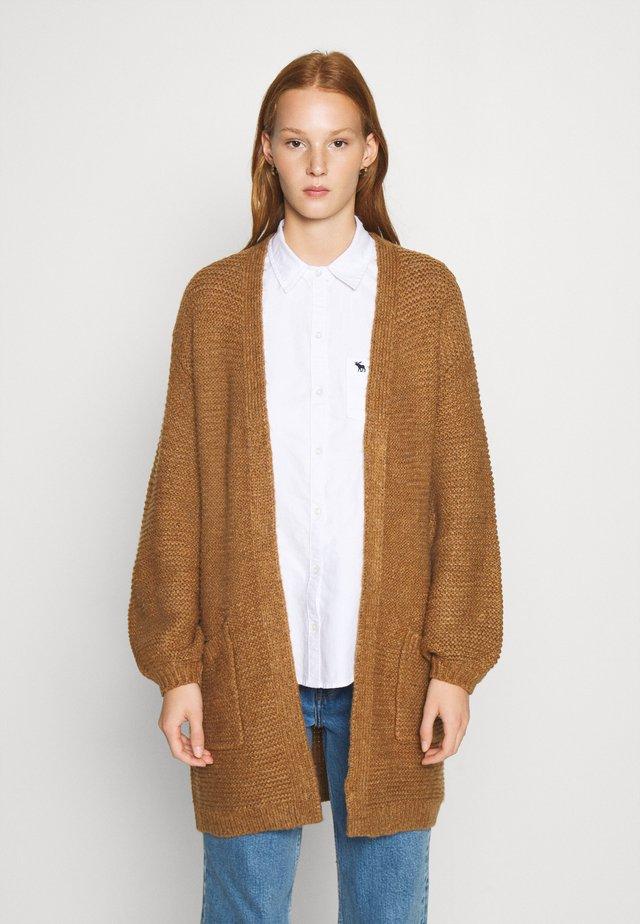 CABLE PUFF SLEEVE CARDI - Vest - medium brown
