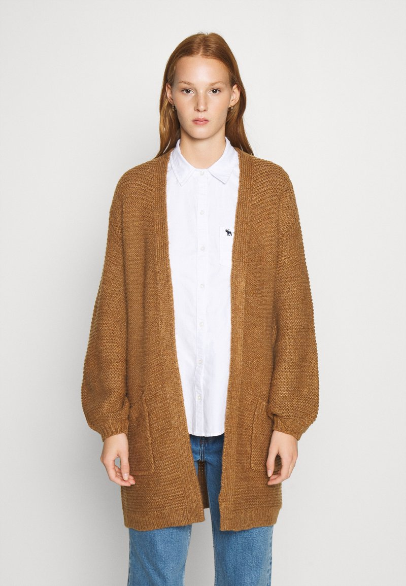 Abercrombie & Fitch - CABLE PUFF SLEEVE CARDI - Cardigan - medium brown