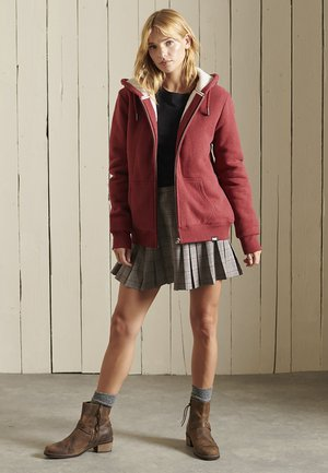 BORG LINED - Zip-up sweatshirt - dark red