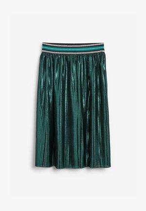 METALLIC - Pleated skirt - teal