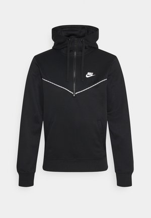 REPEAT HOODIE - Long sleeved top - black/white
