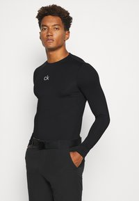 Calvin Klein Golf - BASE LAYER WITH PRINTED CK LOGO - T-shirt à manches longues - black - 0