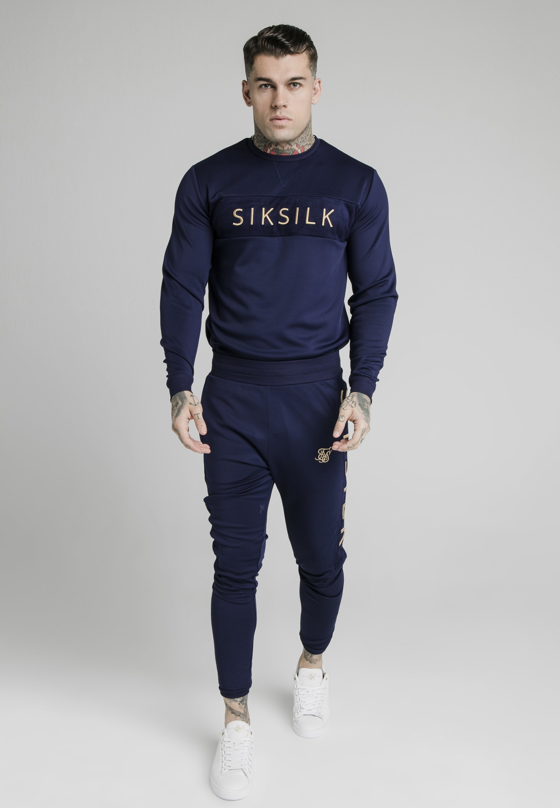Men EYELET PANEL CREW - Long sleeved top