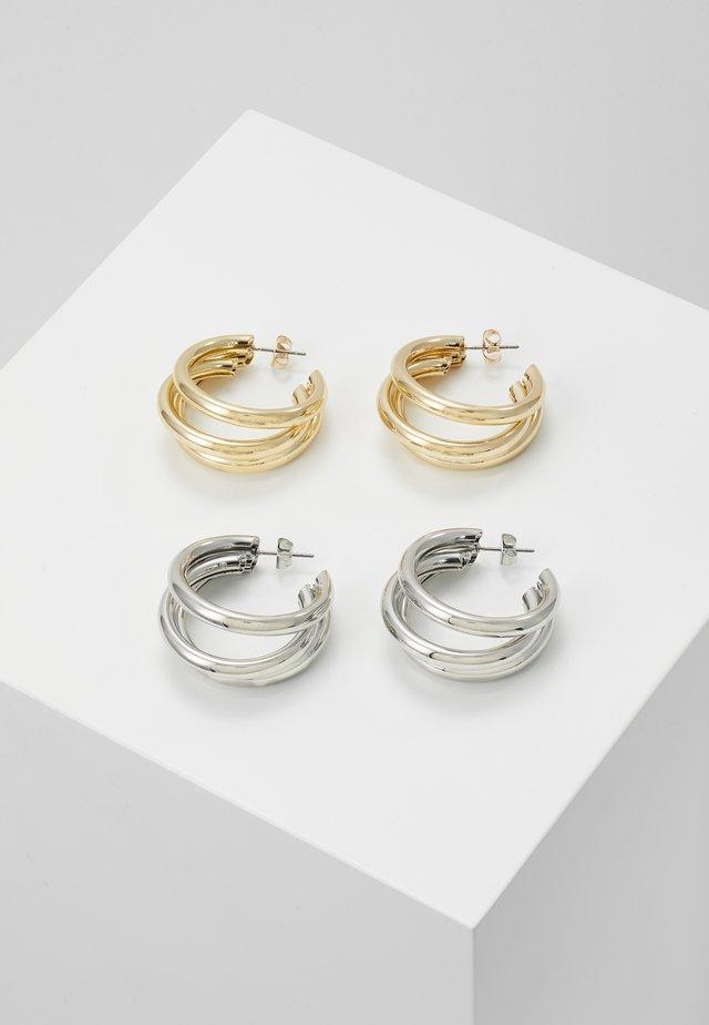 PCDUBBI EARRINGS 2 PACK - Øredobber - gold-coloured/silver-silvercoloured
