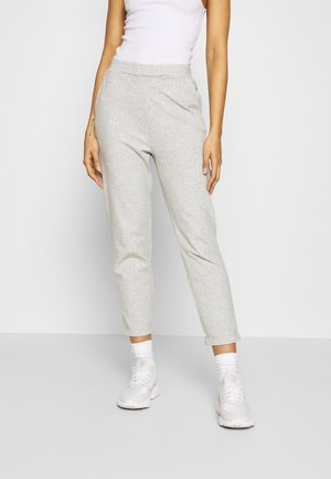 TAPERED TROUSERS WITH TURNED UP HEM - Spodnie materiałowe - mottled grey/white