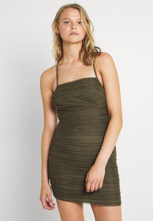 RUCHED OPEN BACK DRESS - Cocktail dress / Party dress - khaki