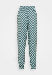 NEW girl ORDER - TEAL CHECKERBOARD TROUSER - Teplákové kalhoty - black/teal - 1