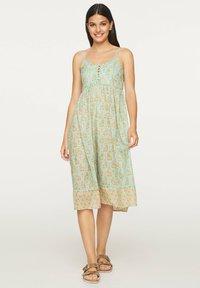 OYSHO - TURQUOISE INDIAN COTTON NIGHTDRESS - Day dress - turquoise - 0