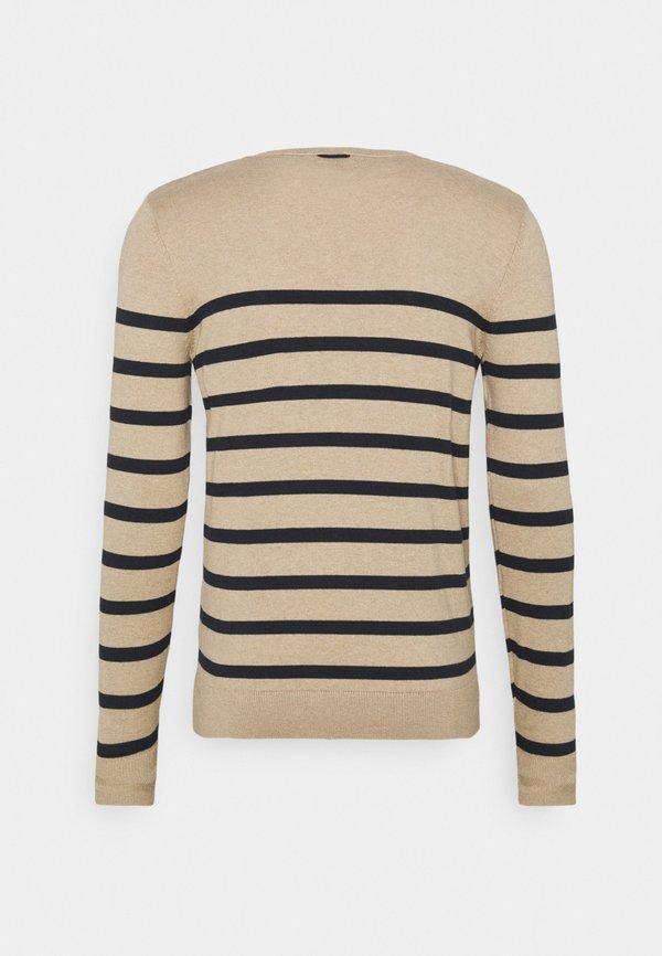 TOM TAILOR STRIPED - Sweter - beige melange/navy/beżowy Odzież Męska FNJN