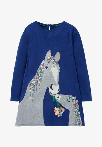 MIT GROSSER APPLIKATION - Day dress - segelblau pferd
