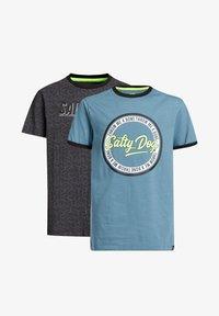 WE Fashion - 2 PACK - Print T-shirt - blue, light grey - 0