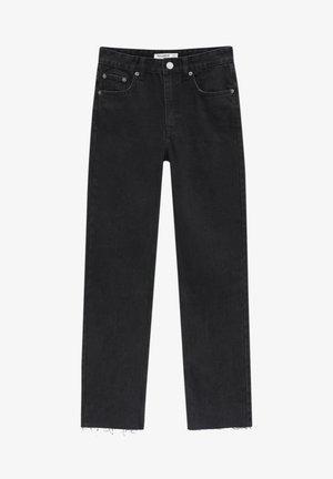 MIT SCHLITZ - Straight leg jeans - mottled black