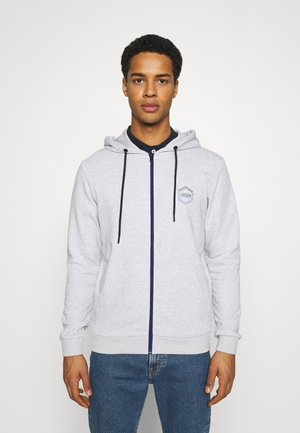 JJDELIGHT ZIP HOOD - Huvtröja med dragkedja - light grey melange